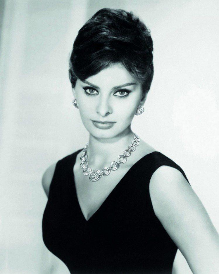 蘇菲亞羅蘭配戴蘇菲亞羅蘭系列珠寶經典照。圖/DAMINAI提供