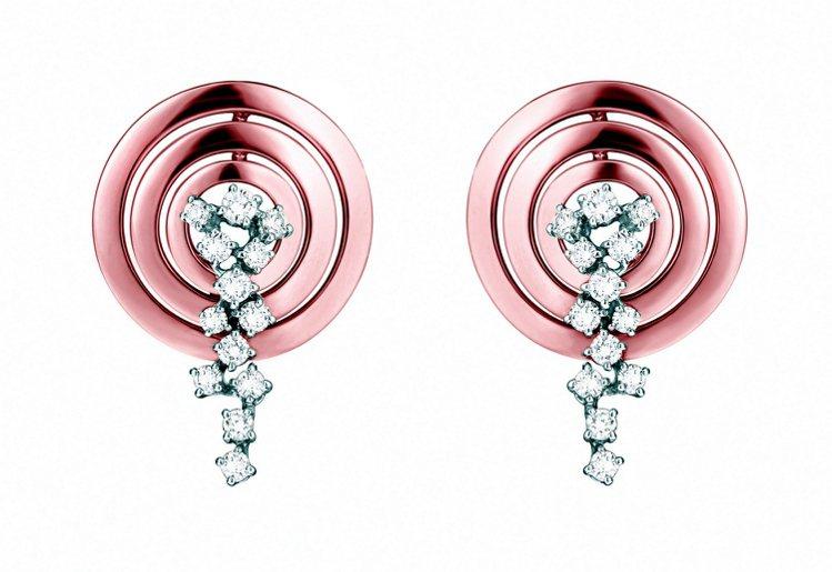 蘇菲亞羅蘭系列玫瑰金鑲白鑽耳環。圖/DAMINAI提供