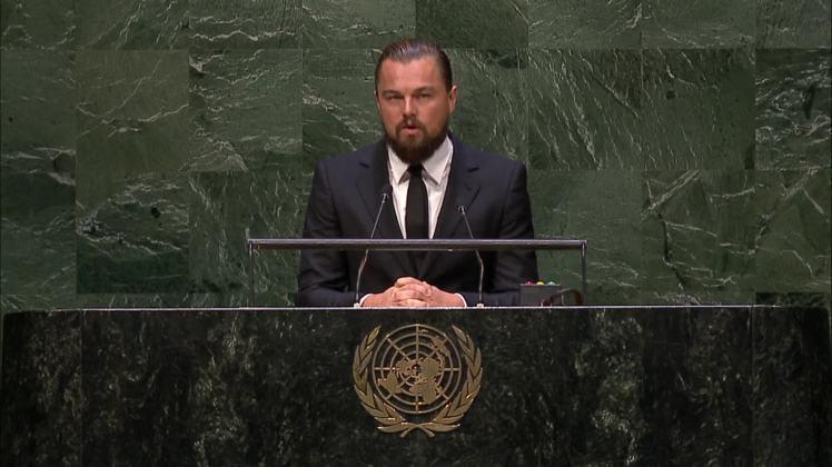 李奧納多近年熱衷於環保議題,圖為他之前在氣候峰會上呼籲環保。圖/udn tv提供