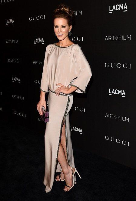 凱特·貝琴薩穿著Gucci One of a Kind 絲質禮服。圖/Gucci...