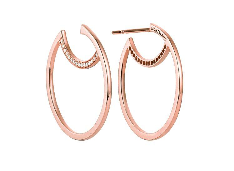 萬寶龍Boheme寶曦系列玫瑰金鑲鑽耳環,11萬1,200元。圖/萬寶龍提供
