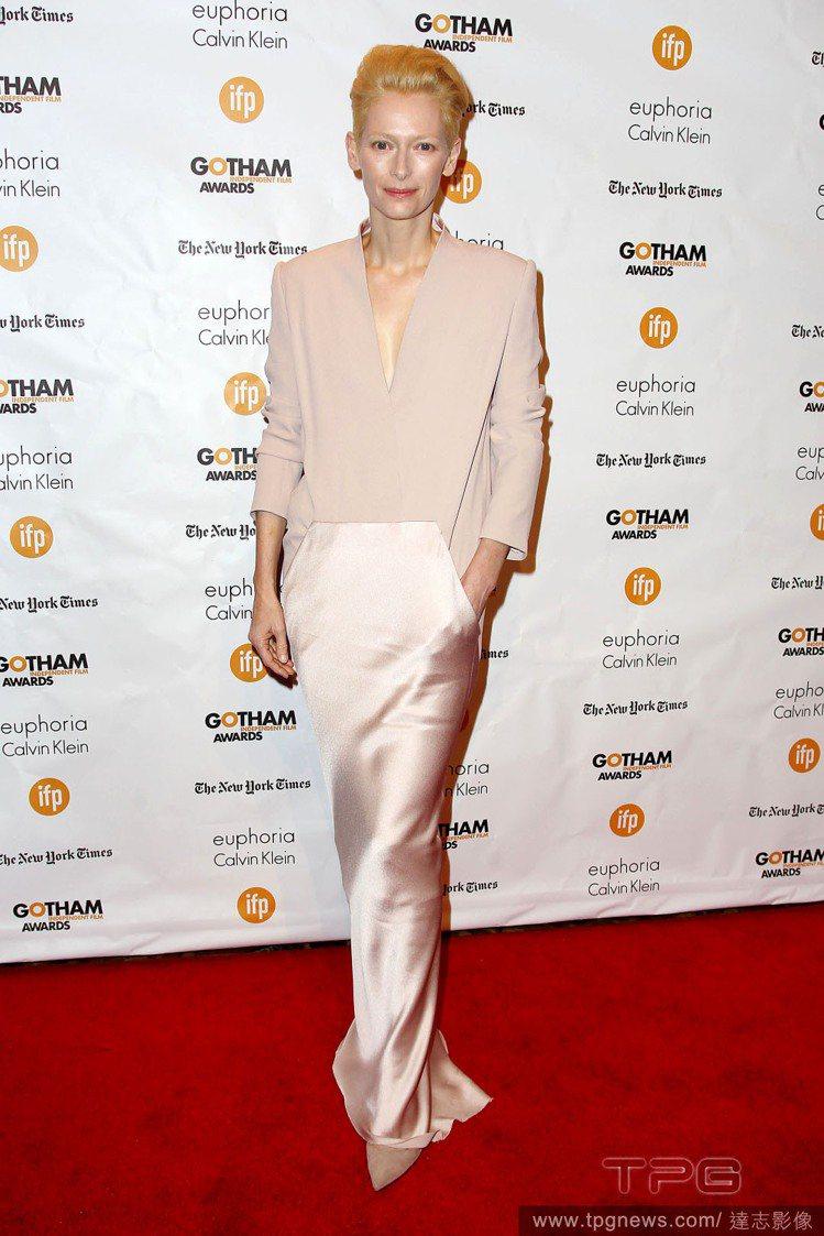 蒂妲史雲頓日前出席第24屆哥譚獨立電影奬。圖/達志影像