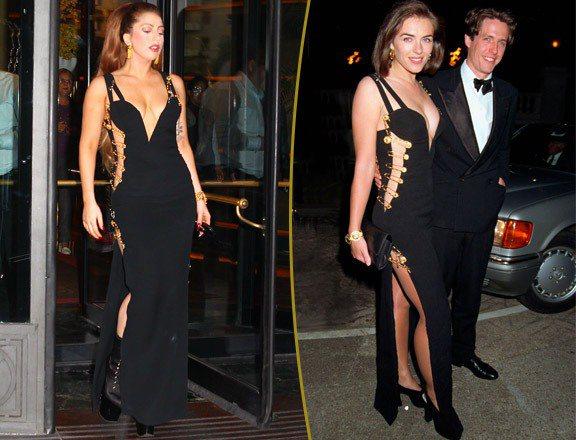 女神卡卡(左)這件用別針裝飾的黑色禮服,大量裸露的設計加上金屬別針後,反而帶來一...