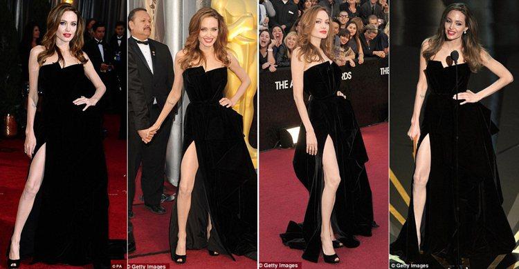 安潔莉娜裘莉這身黑色開衩禮服很美,但因為在奧斯卡頒獎典禮時狂伸大腿,被媒體捕捉到...