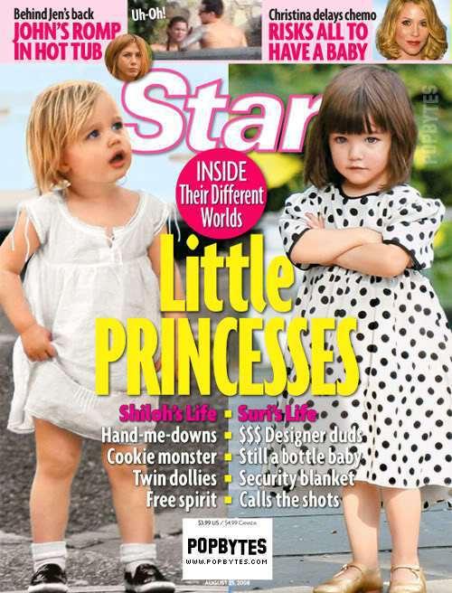 Shiloh曾被拿來和阿湯哥的女兒蘇蕊比較登上雜誌封面。圖/擷自femalefi...