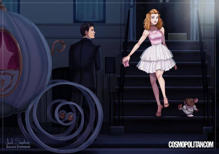 灰姑娘在插畫家的筆下穿上小蓬裙化身凱莉,Prince Charming 飾演大人...