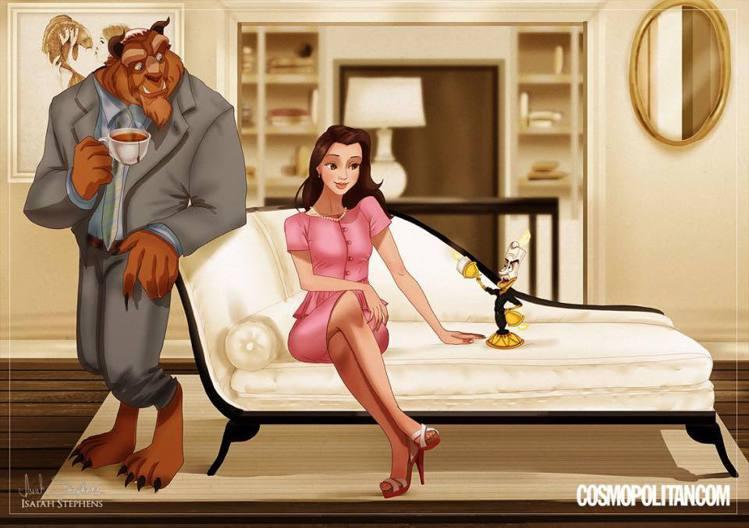 知性的貝兒飾演優雅端莊的夏綠蒂,野獸則詮釋她那位體貼的光頭老公Harry。圖/擷...