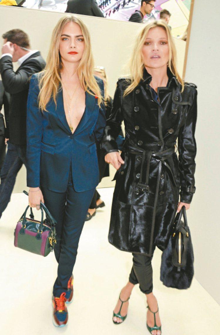 卡拉迪樂芬妮(左)搶先提Prorsum 2015年春夏主打訂製BURBERRY ...