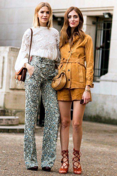 俄國的時尚潮人Elena Perminova(左)和義大利的部落客Chiara ...