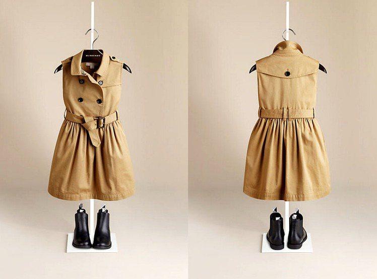 BURBERRY 童裝無袖風衣式洋裝 NTD 9,600 (和小哈波同款)。圖/...