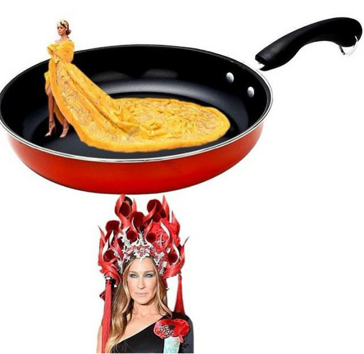 蕾哈娜的黃袍、莎拉潔希卡派克的頭冠被網友惡搞。圖/擷自紐約時報