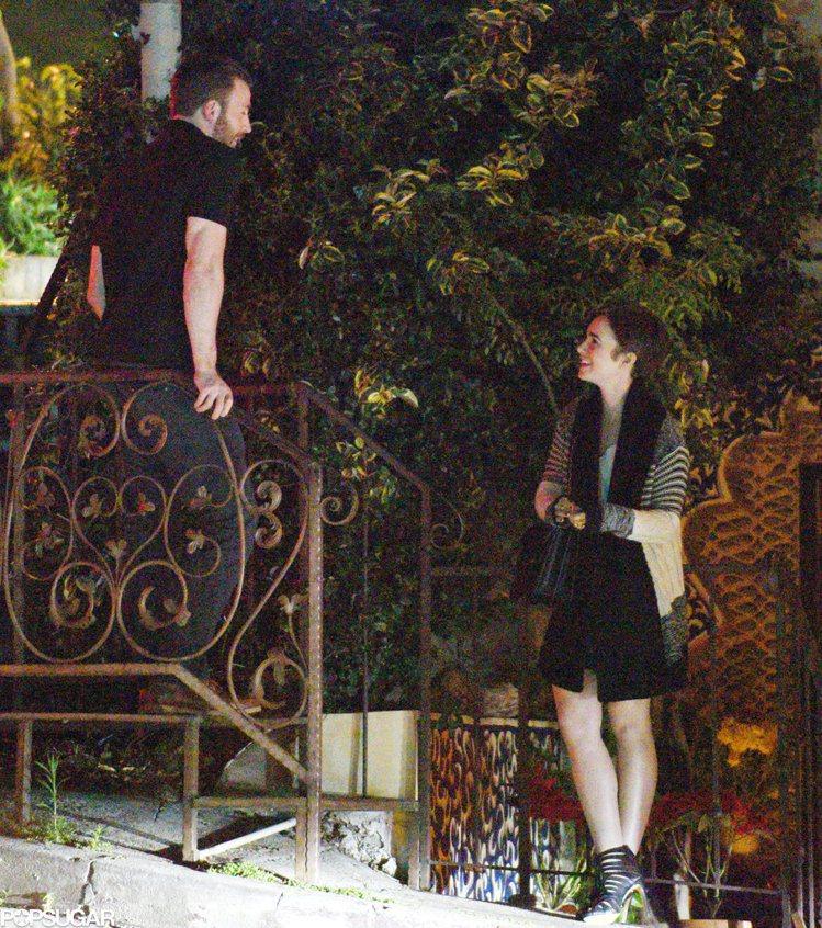 莉莉柯林斯與克里斯伊凡前陣子共進晚餐。圖/擷自popsugar.com