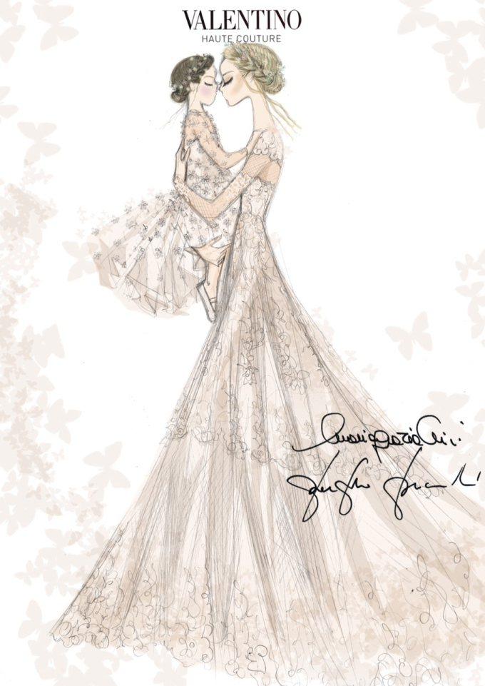 Valentino為前GUCCI設計總監Frida Giannini和女兒設計婚...