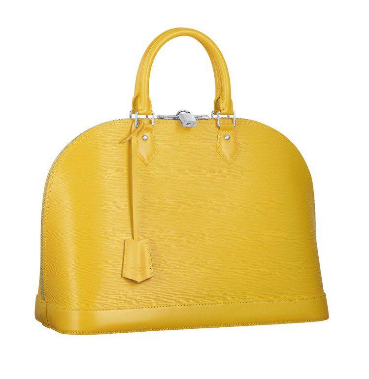LV新款條紋Alma EPI黃色手提包、52,500元。圖/LV提供