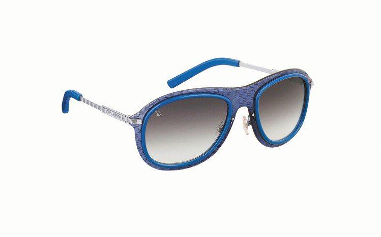 LV Impulsion棋盤格藍色邊框太陽眼鏡,19,300元。圖/LV提供