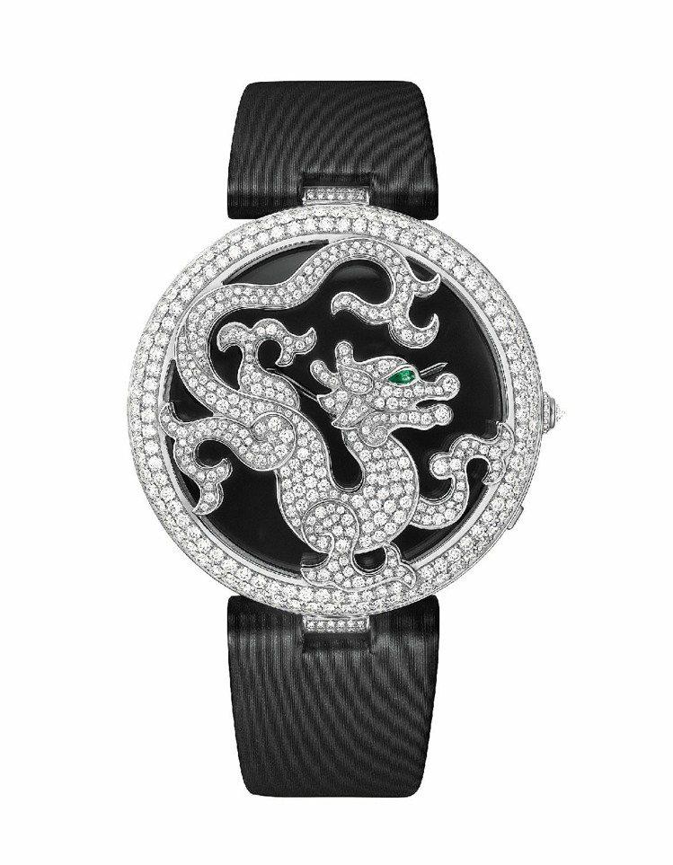 龍型裝飾珠寶腕表,18K白金表殼鑲嵌美鑽,龍的眼睛為祖母綠,搭載430MC型手上...