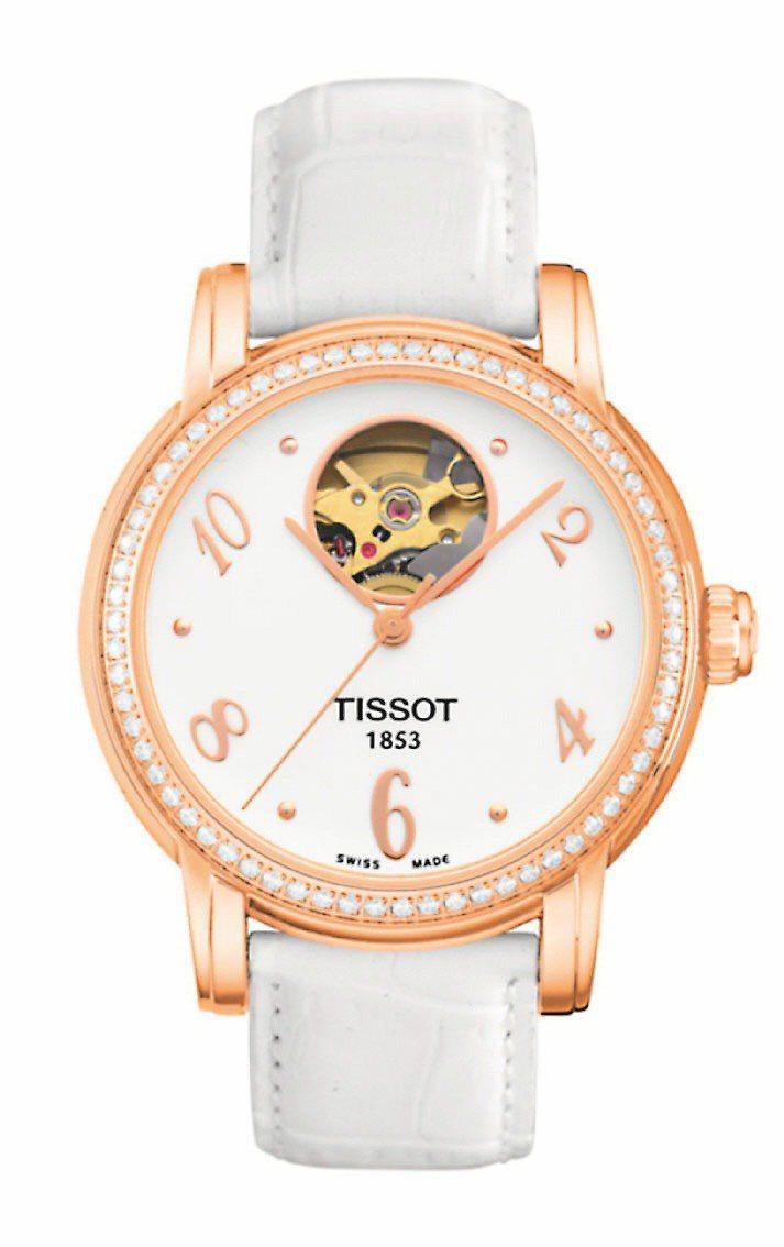 Lady Heart開心系列玫瑰金鑽表,建議售價73,800元。圖/天梭提供