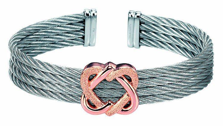 Heart 2 Heart系列銀鋼索、玫瑰金扣飾,8,400元。圖/CHARRI...
