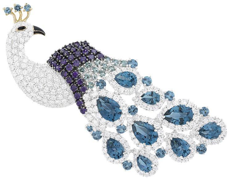 ARTE藍孔雀皇后晶鑽胸針,43,200元。圖/迪生提供