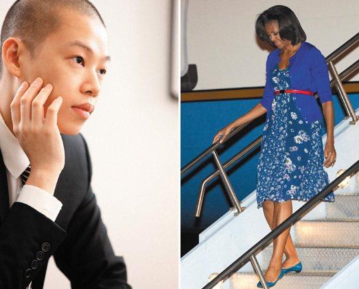 美國第一夫人蜜雪兒(右圖)穿上吳季剛(左圖)設計的平價服飾出席公開活動。聯合報資...