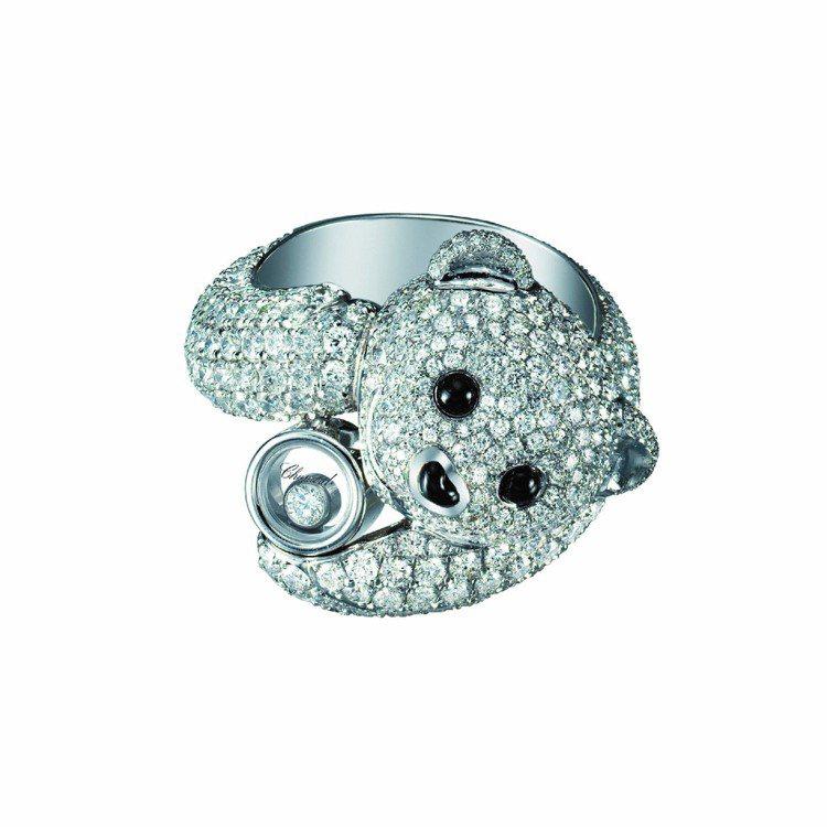 蕭邦動物世界系列小熊戒指,18K白金材質鑲嵌鑽石內含單顆滑動鑽石共重3.83克拉...