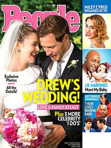 茱兒芭莉摩與新婚老公威爾卡裴曼接受美國「時人雜誌」專訪,秀出婚紗照。圖/擷取自時...