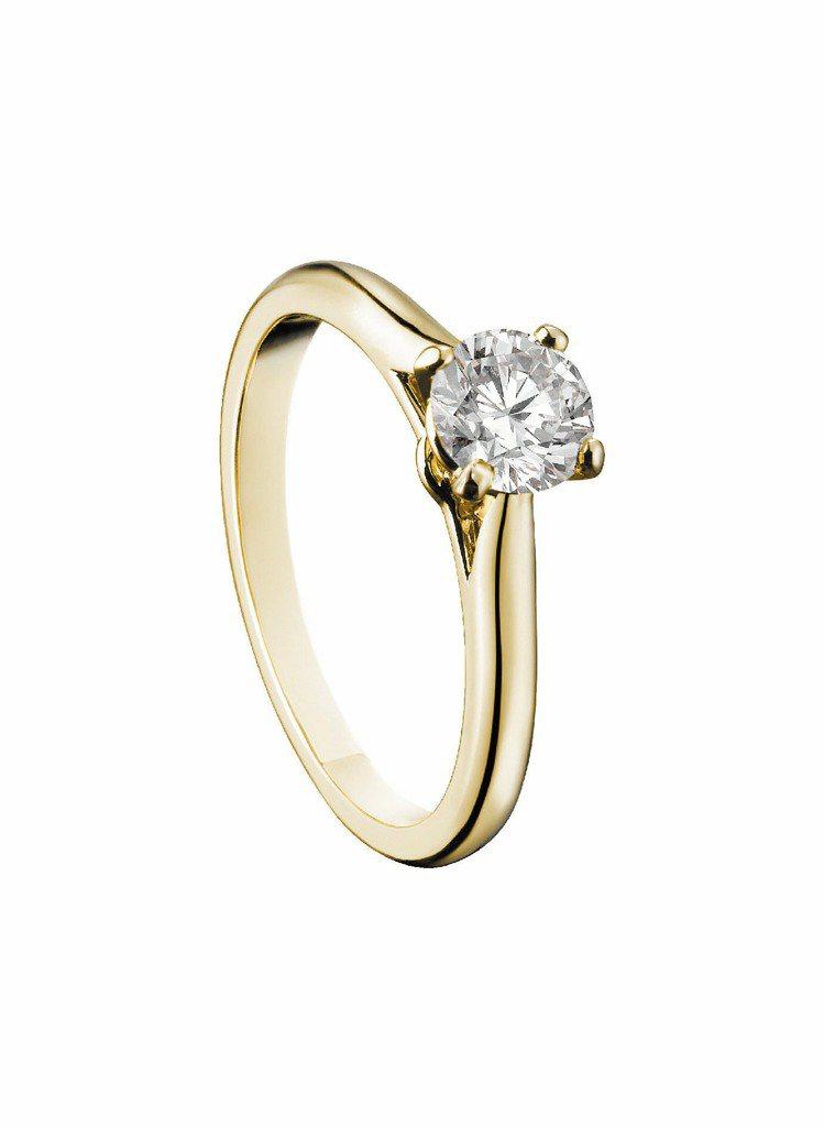 Solitaire 1895黃K金訂婚鑽戒,18K黃金鑲嵌明亮式切割鑽石,Set...