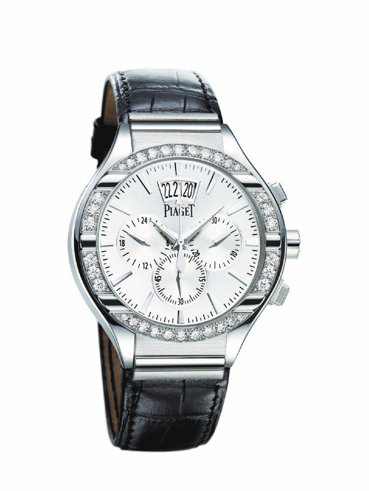 伯爵Piaget Polo腕表、白金表殼,鑲嵌34顆美鑽、1,573,000元。...