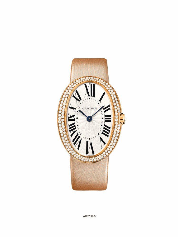 卡地亞Baignoire系列鑽表,玫瑰金表殼搭配霧金色緞質表帶,大型款,參考價約...