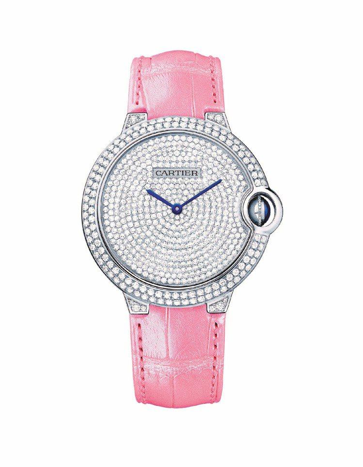 卡地亞Ballon Bleu de Cartier鑽表,搭配粉紅色鱷魚皮表帶,參...