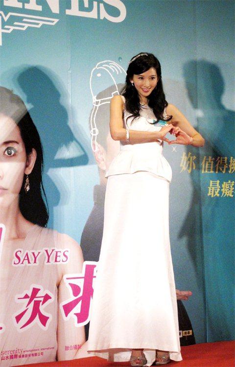 林志玲一身白色禮服飄逸現身。記者吳曉涵/攝影