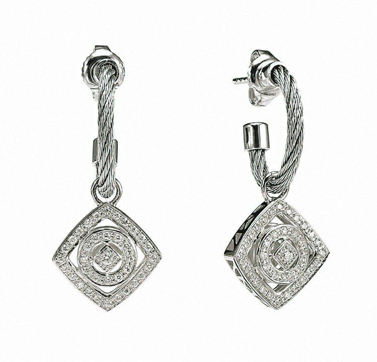 SQUARE & CIRCLE耳環,精鋼鋼索及鑽石,73,500元。圖/夏利豪提...