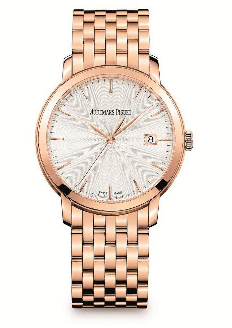 Jules Audemars自動腕表,18K玫瑰金表殼, 120萬元。圖/愛彼表...