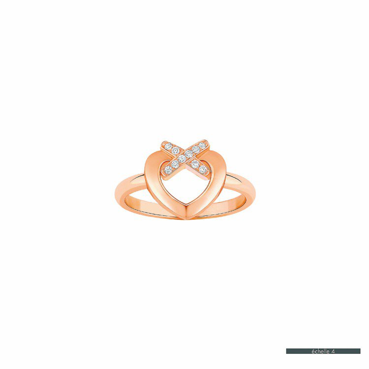 Liens du Coeur戀心玫瑰金鑲鑽戒指,78,000元。圖/CHAUME...