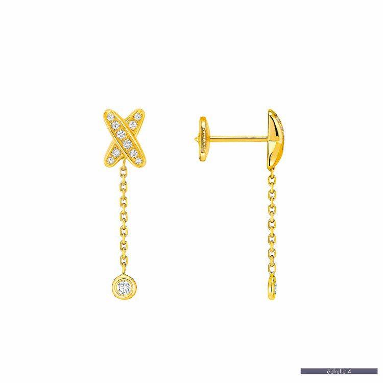 Mini Liens戀迷你黃金鑲鑽耳環,18K黃金鑲嵌22顆鑽石,97,000元...