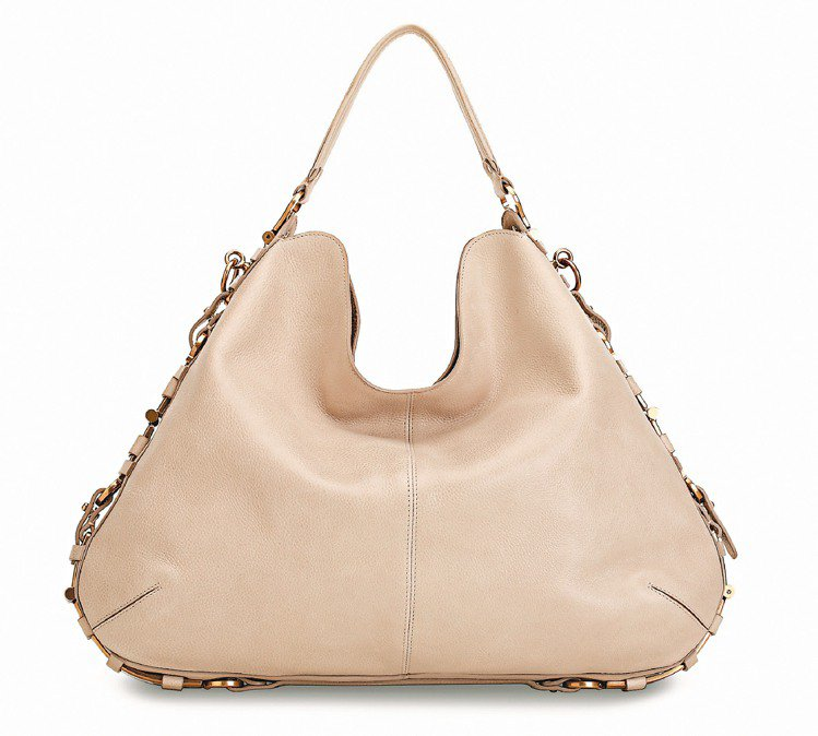 Ferragamo灰白色牛皮金屬釦飾手提包,80,900元。圖/Ferragam...
