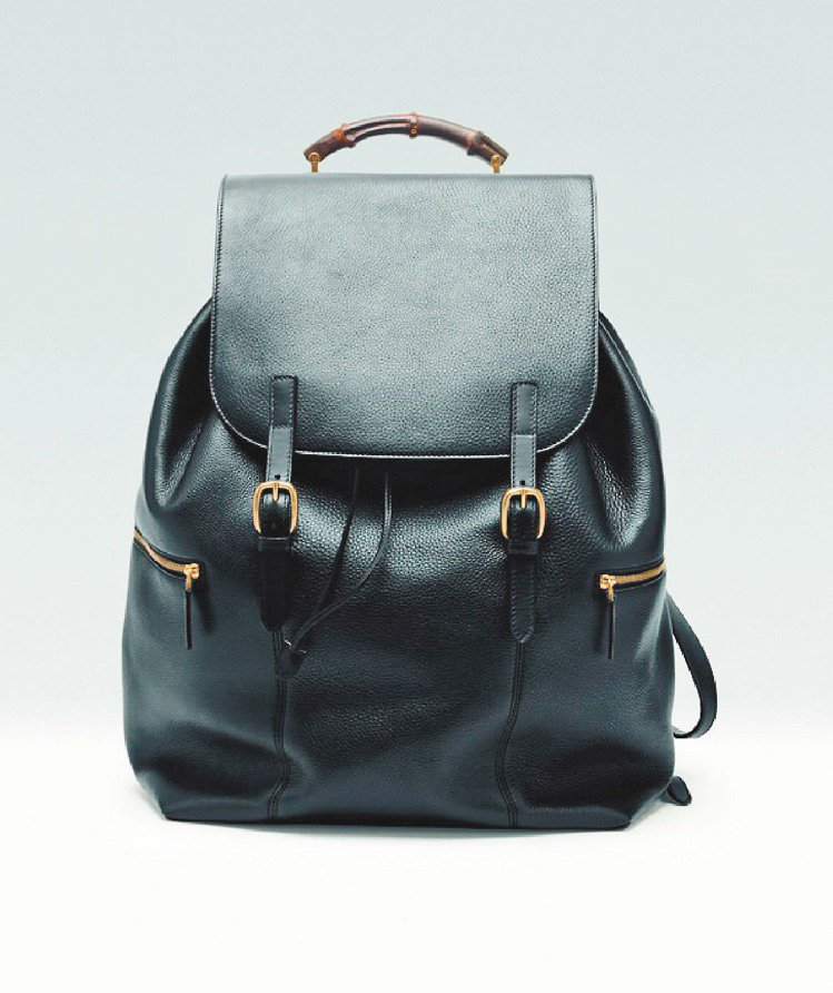 黑色牛皮竹節背包,13萬6,000元。圖/GUCCI提供