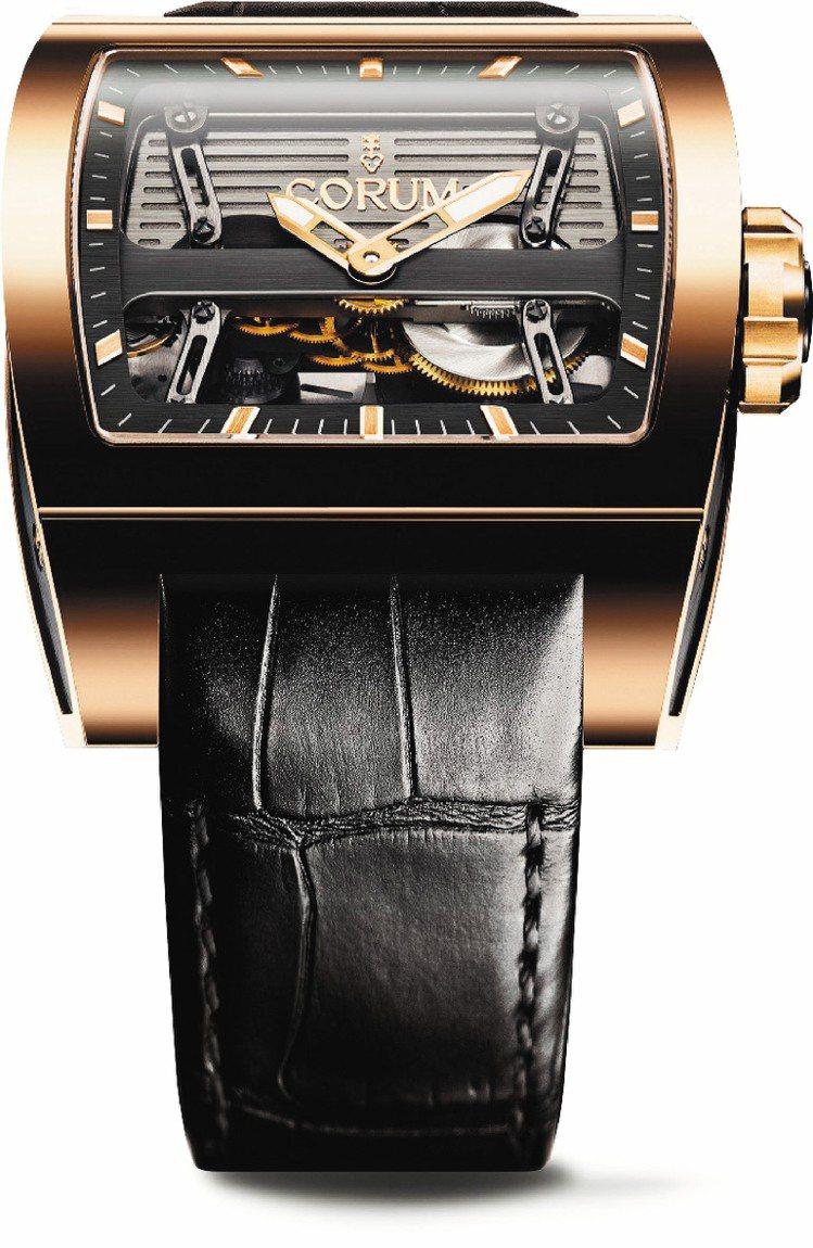 鈦橋雙自動盤腕表,18k玫瑰金表殼,自動機芯,限量25只,190萬元。圖/崑崙表...