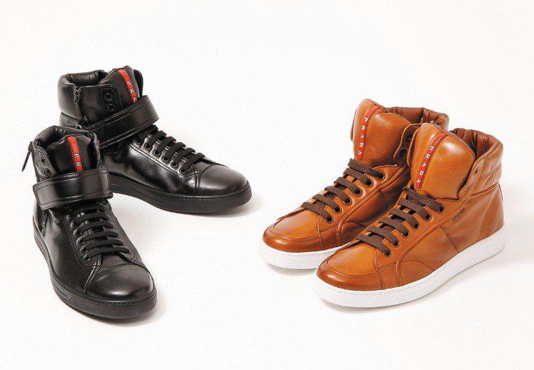 PRADA小羊皮高筒運動鞋,黑色款27,000元、棕色款26,000元。圖/PR...