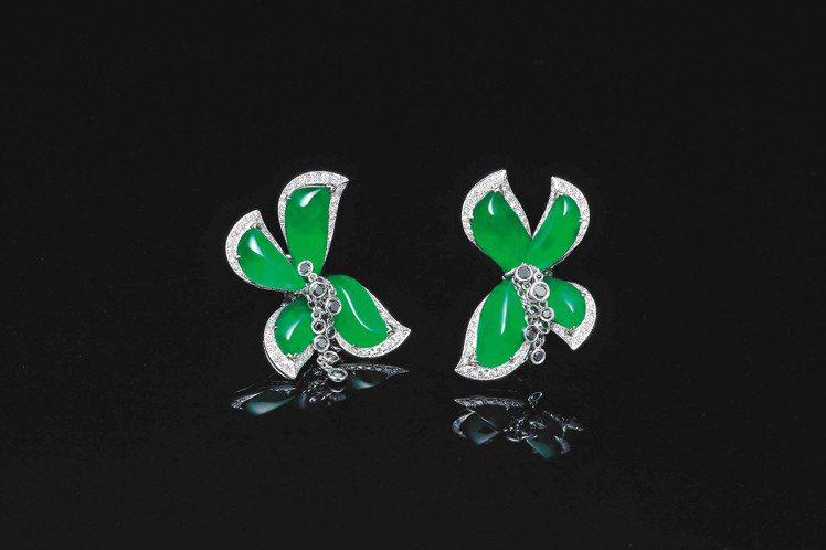 頂級翡翠珠寶系列Le Flore花神套鍊組之耳環。圖/玉世家提供