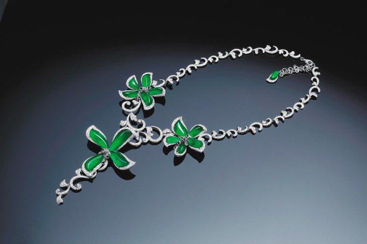 頂級翡翠珠寶系列Le Flore花神套鍊組之套鍊。圖/玉世家提供