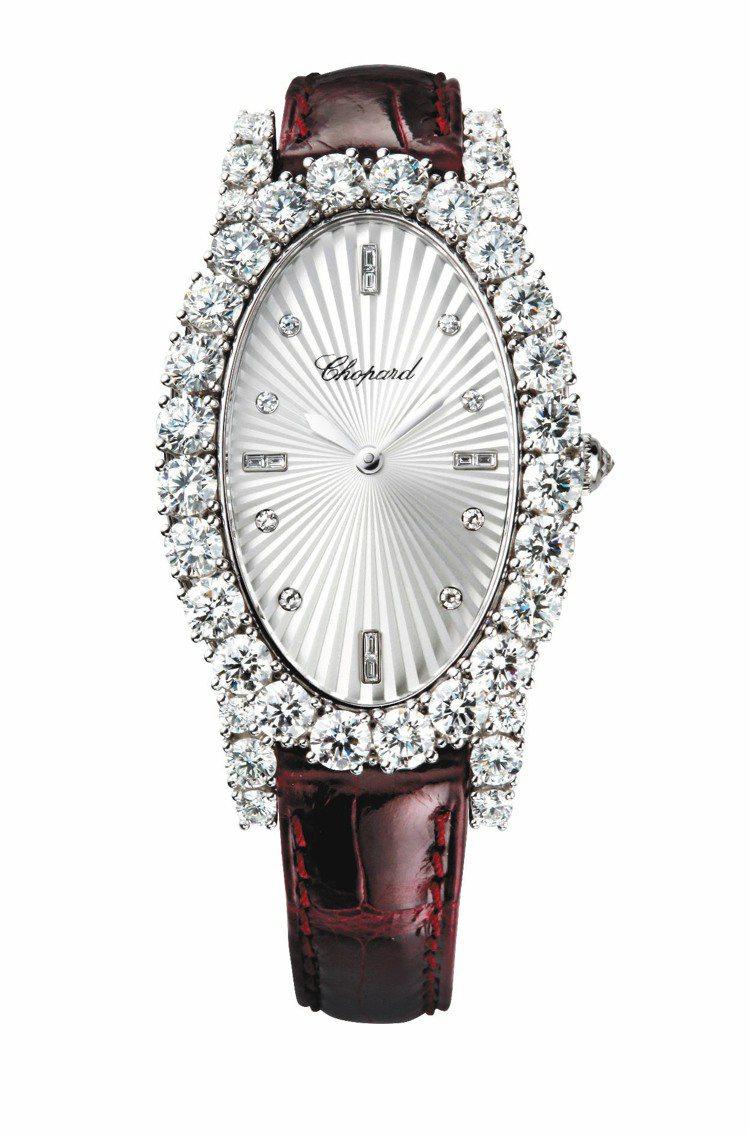 Classic Ladies系列鑽石腕表,18K白金材質,表圈鑲12顆IF鑽石(...