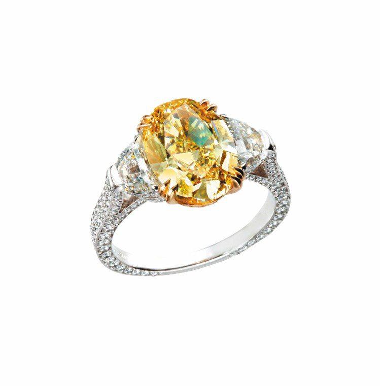 蕭邦頂級訂製鑽石戒指,18K白金及18K黃金鑲嵌黃鑽重3.65克拉,882.4萬...