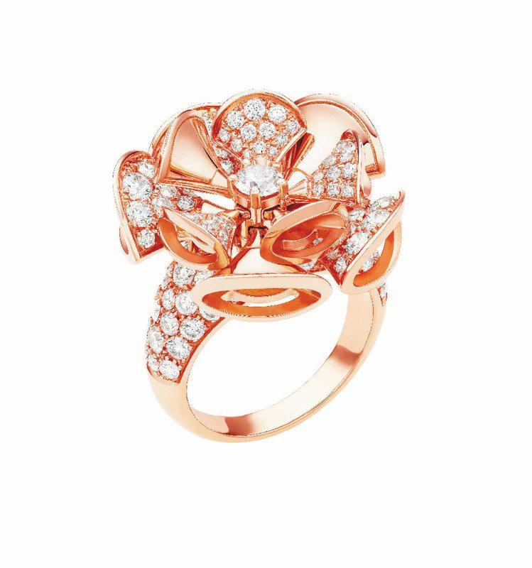 DIVA玫瑰金戒指,密釘鑲重3.15克拉鑽石,59萬8,000元。圖/BVLGA...