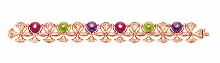 DIVA玫瑰金手環,鑲嵌紫水晶、紅碧璽、橄欖石和鑽石,130萬8,000元。圖/...