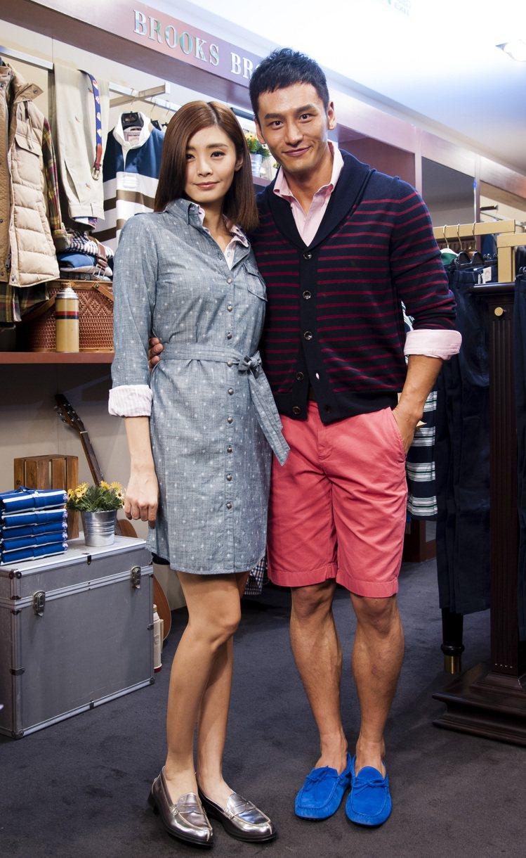 顧又銘(左)與夏如芝示範Brooks Brothers新裝。記者王騰毅/攝影