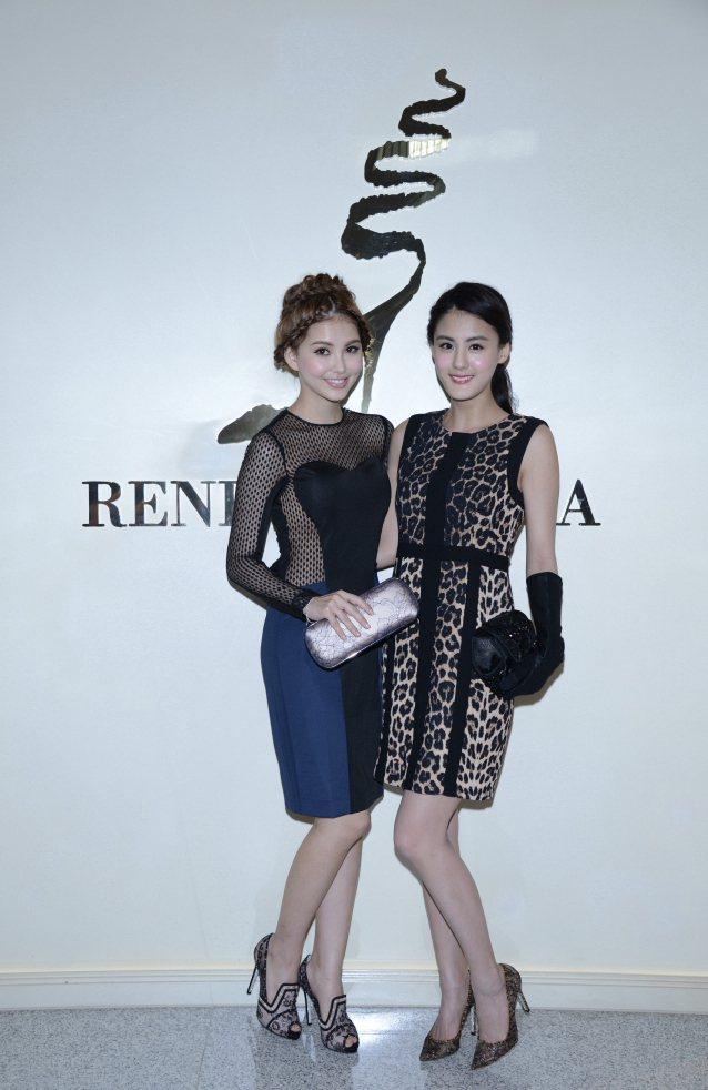 女星宋紀妍與昆凌展示RENE CAOVLLA秋冬鞋款。圖/RENE CAOVLL...