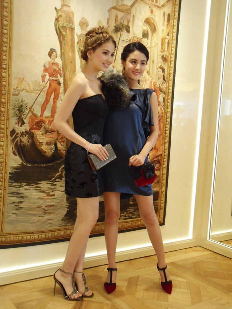女星宋紀妍與昆凌展示RENE CAOVLLA秋冬鞋款。圖/記者陳于婷攝影