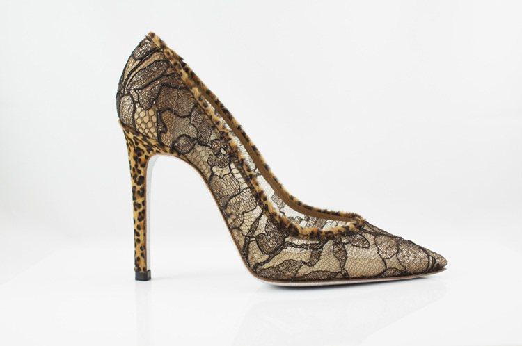 豹紋蕾絲高跟鞋 NT$31,000。圖/RENE CAOVLLA提供