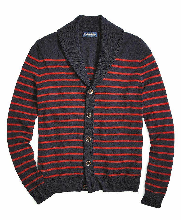 Brooks Brothers海軍藍條紋開襟衫,7,980元。圖/迪生提供